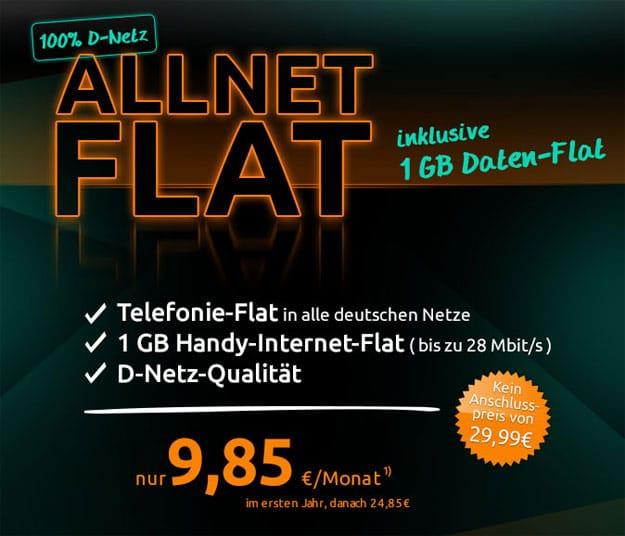 Crash D-Netz Allnet-Flat ab 9,85 € mtl.