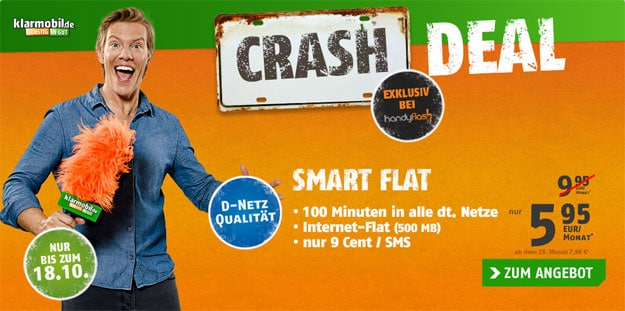 Crash Deal Klarmobil Smart Flat mit 500 MB
