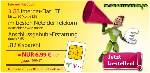 Internet Flat 3000 für 6,99 €
