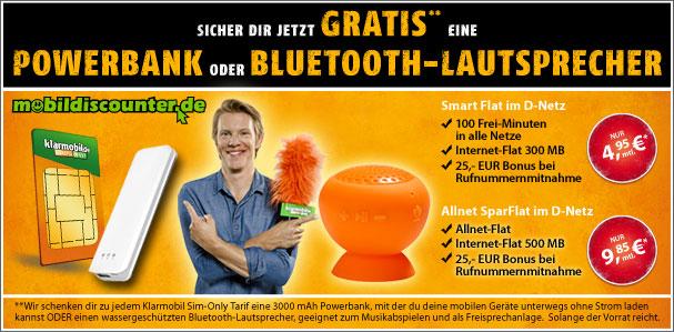 Klarmobil Smart Flat für 4,95 € mtl. mit Powerbank und Speaker