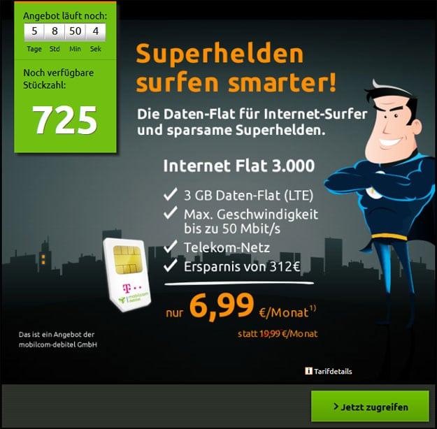 md Telekom Internet Flat 3000 für 6,99 € im Monat