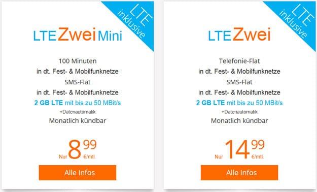 sim.de LTE Zwei und LTE Zwei Mini