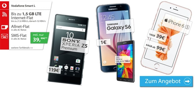 Vodafone Smart L mit iPhone 6s und Sony Xperia Z5