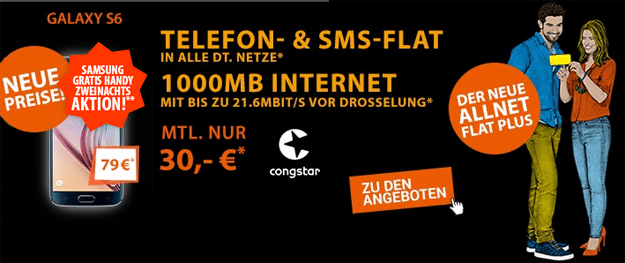 Congstar Allnet Flat Plus mit Galaxy S6