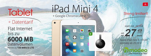 Vodafone DataGo L mit iPad Air 2 und Google Chromecast 2