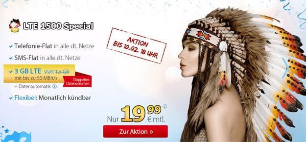 DeutschlandSIM LTE 1500 Special für 19,99 €