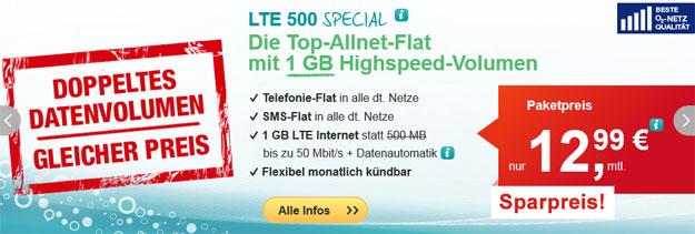 helloMobil LTE 500 Special für 12,99 €