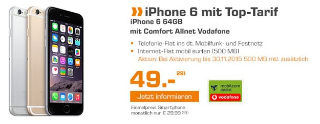 iPhone 6 64GB mit Vodafone Comfort Allnet