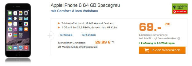 Apple iPhone 6 + Comfort Allnet Vodafone