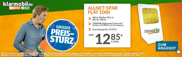 Klarmobil Allnet Spar Flat für 12,85 €