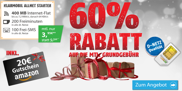 klarmobil Allnet Starter für 3,95 € im Monat