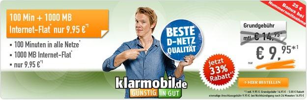 Klarmobil Flat Smart mit 9,95 € mtl.