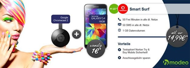 Samsung Galaxy S5 Mini mit Chromecast im Smart Surf