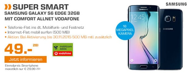 Samsung Galaxy S6 Edge mit Vodafone Comfort Allnet