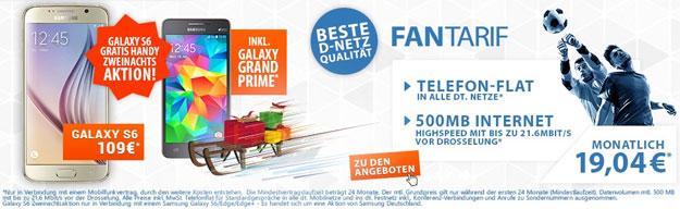Samsung Galaxy S6 mit Zweinachten Schalke Tarif