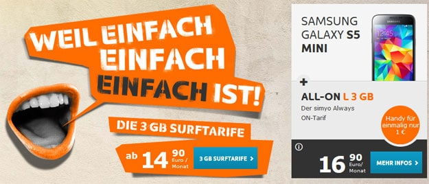 simyo All-on L 3GB mit Samsung Galaxy S5 Mini