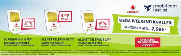Vodafone Smartphone-Tarife ab 2,99 € mtl.