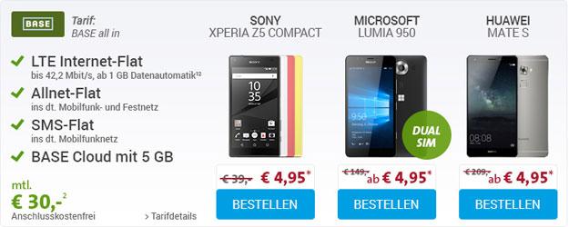 BASE All-in mit Lumia 950 und Mate S
