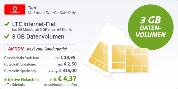Data Go SIM only 3 GB LTE
