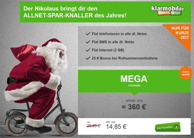 Klarmobil Allnetflat mit 2 GB für 14,85 € im Monat