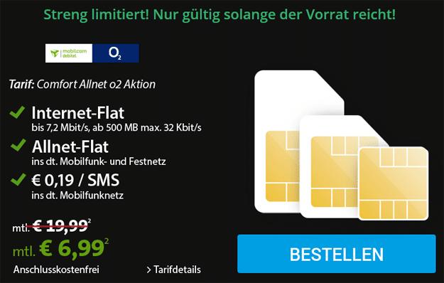 o2 Comfort Allnet für 6,99 € mit Sparhandy