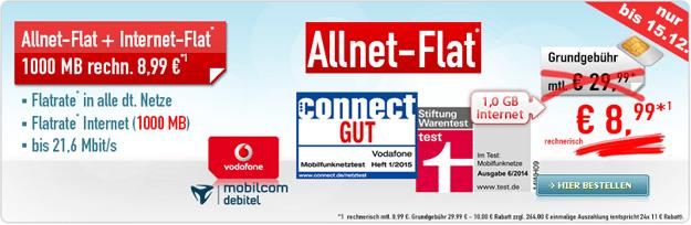 Vodafone Comfort Allnet für 8,99 €