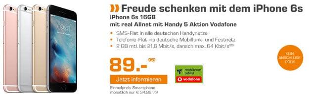 Vodafone Comfort Allnet mit iPhone 6s