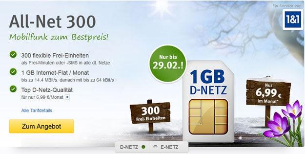 1&1 All-Net 300 für 6,99 €