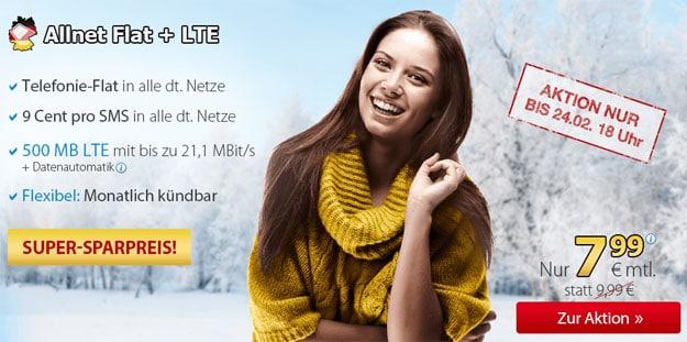 DeutschlandSIM Allnet-Flat LTE für 7,99 €