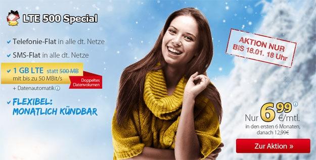 DeutschlandSIM LTE 500 Special für 6,99 €