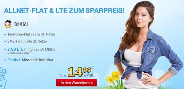 DeutschlandSIM LTE M für 14,99 €