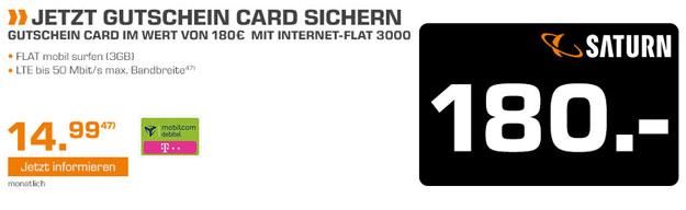 Internetflat 3000 mit 180 € Gutschein-Card