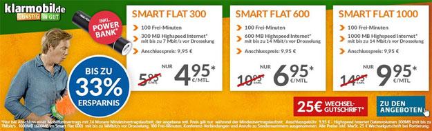 Klarmobil Smart-Flat ab 4,95 € mtl.