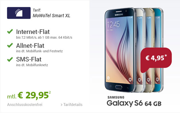 MoWoTel Smart XL mit Samsung Galaxy S6 64GB