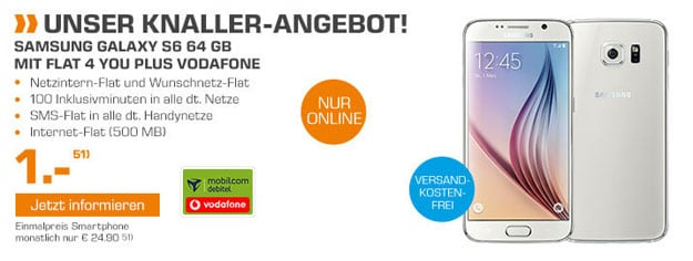 Samsung Galaxy S6 64GB mit Flat 4 You