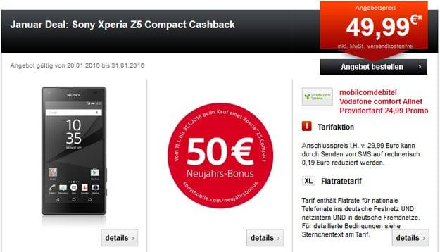 Sony Xperia Z5 Compact mit Vodafone Comfort Allnet