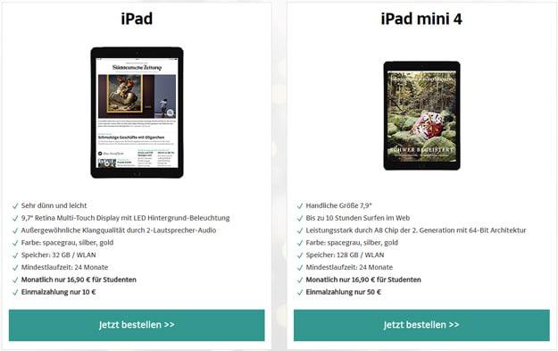 SZ Weihnachtsangebote für Studenten mit Apple iPad und iPad Mini 4