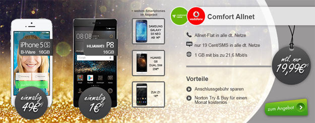 Vodafone Comfort Allnet mit iPhone 5s