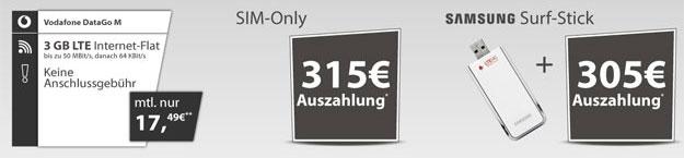Vodafone DataGo M mit 315 EUR Auszahlung