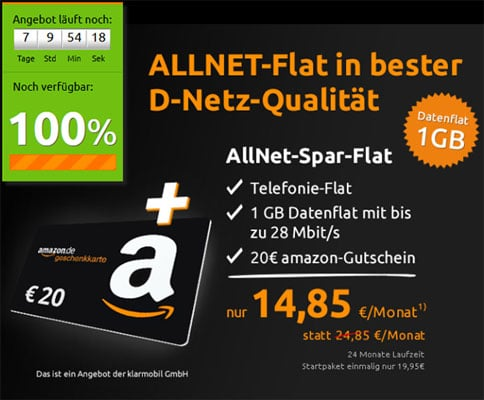 Crash Tarif klarmobil Allnet-Spar-Flat