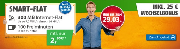 klarmobil Smart Flat für 2,95 € im Monat