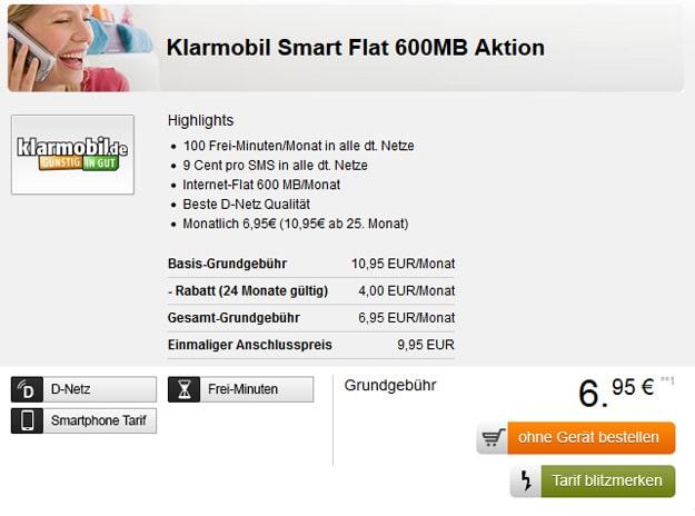 klarmobil Smart Flat mit 600 MB für 6,95 €