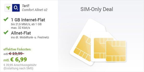 o2 Comfort Allnet für 6,99 €