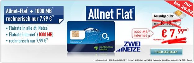 o2 Comfort Allnet für 7,99 € im Monat