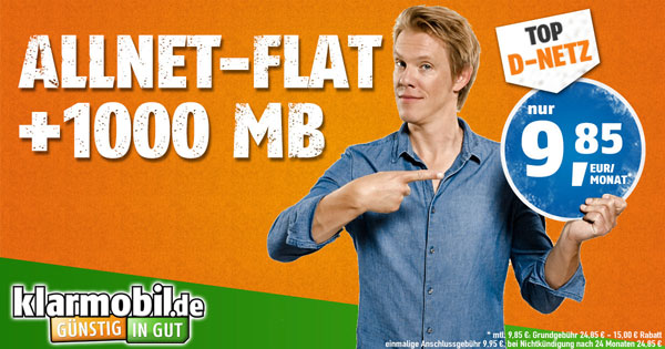 Klarmobil Allnetflat Telekom 1 GB