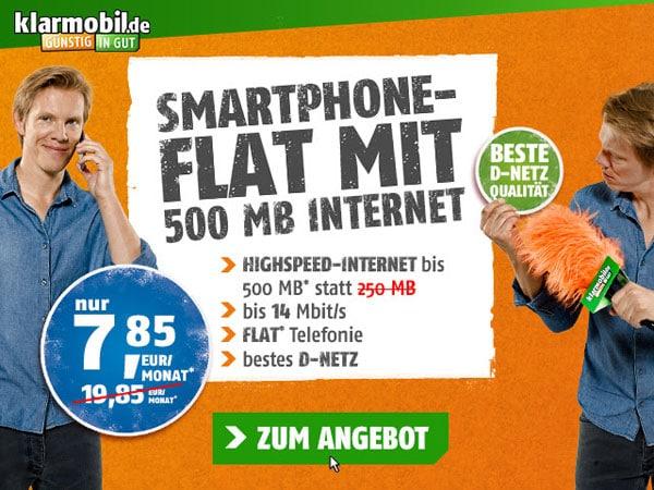 Klarmobil Allnetflat Telekom 500 MB