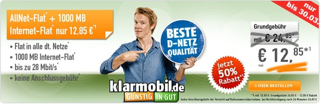 klarmobil Allnet-Flat für 12,85 €