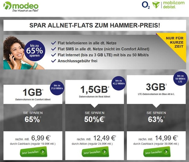 o2 Blue All-in L (md) für 14,99 €