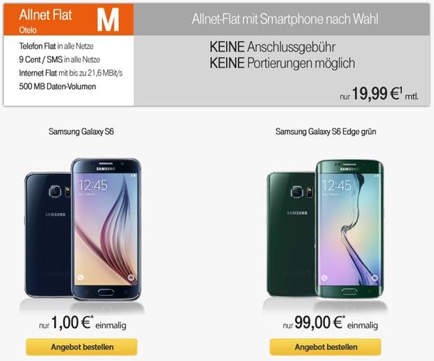 otelo Allnet-Flat M mit Samsung Galaxy S6