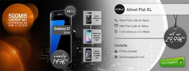 otelo Allnet-Flat XL mit Samsung Galaxy S7